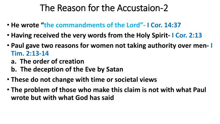 The Reason for the Accustaion-2