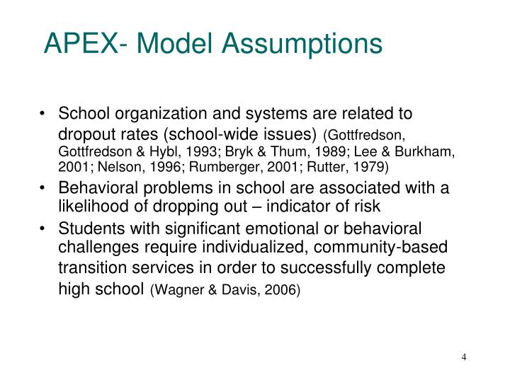 APEX- Model Assumptions
