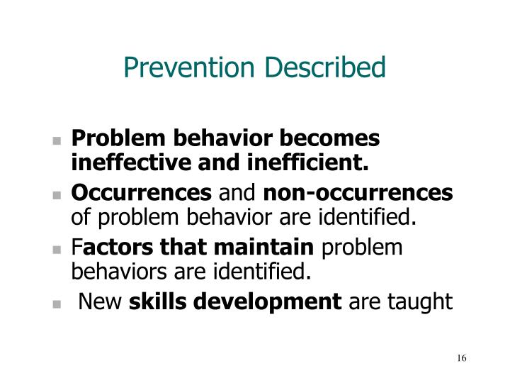 Prevention Described