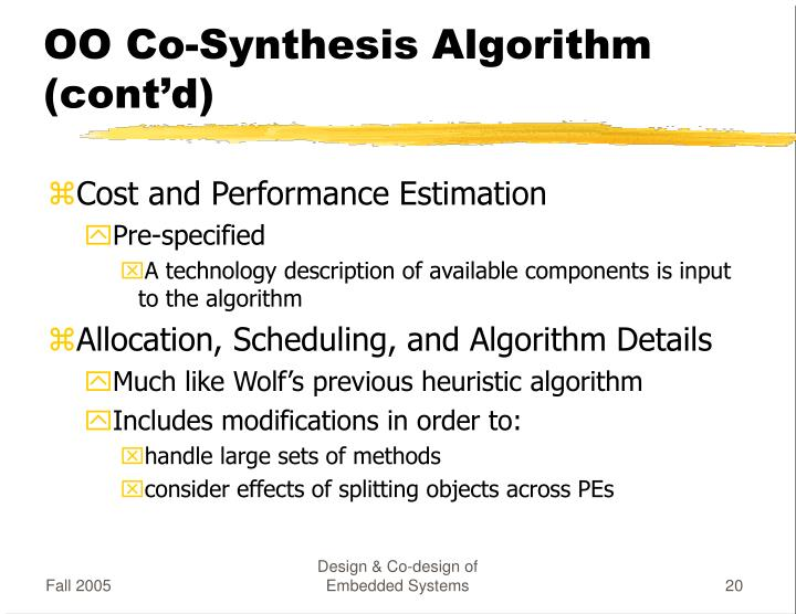 OO Co-Synthesis Algorithm (cont'd)