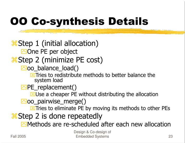 OO Co-synthesis Details
