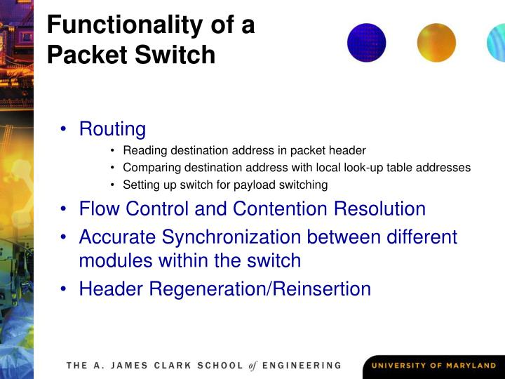 Functionality of a packet switch