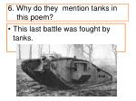 6 why do they mention tanks in this poem