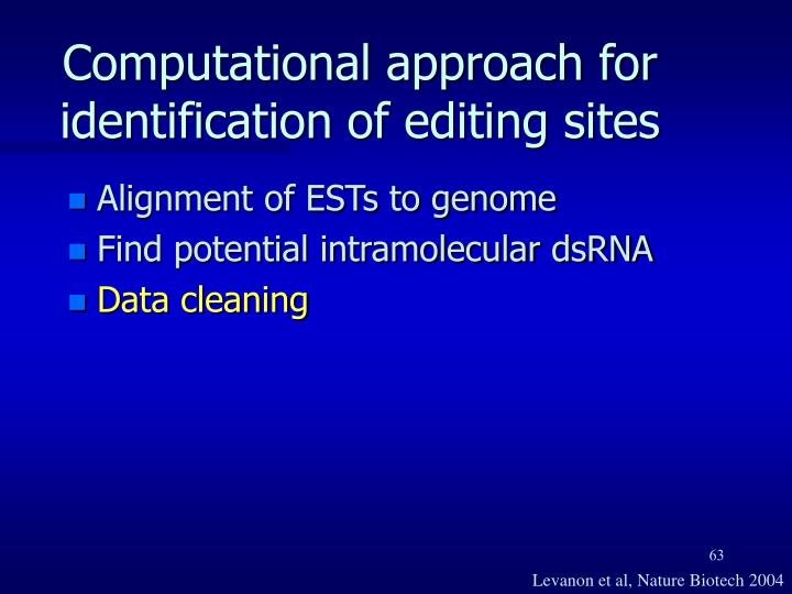 Computational approach for identification of editing sites