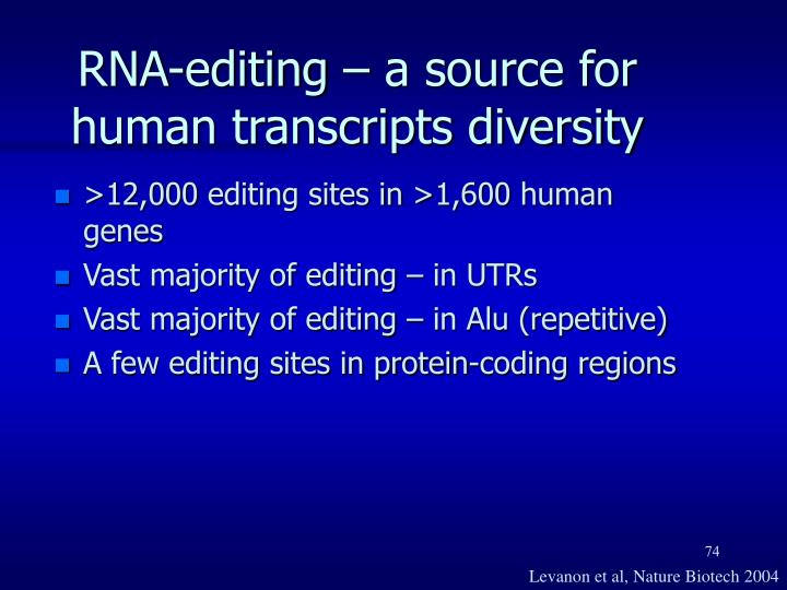 RNA-editing – a source for human transcripts diversity