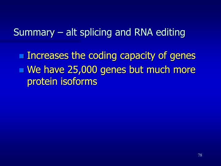 Summary – alt splicing and RNA editing