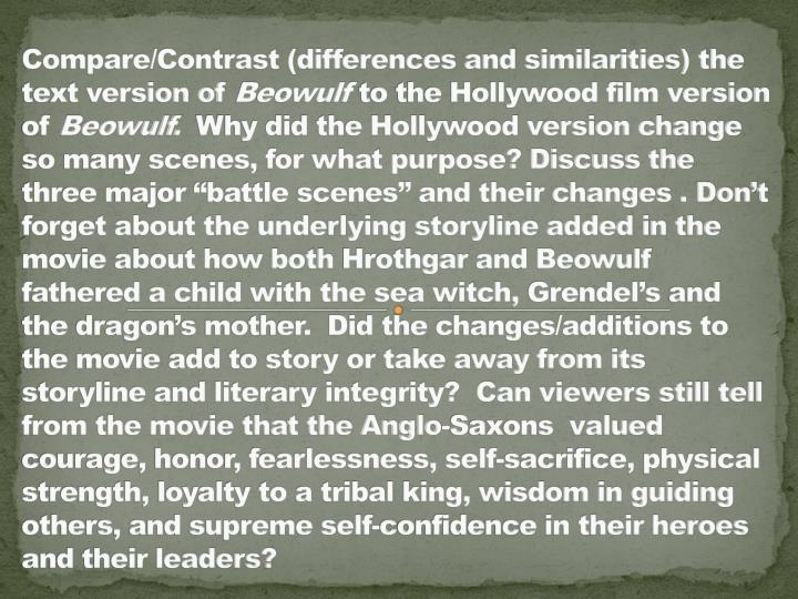 compare and contrast essay about beowulf Contrast between grendel and beowulf print if you are the original writer of this essay and no longer wish to have the essay published on the uk.