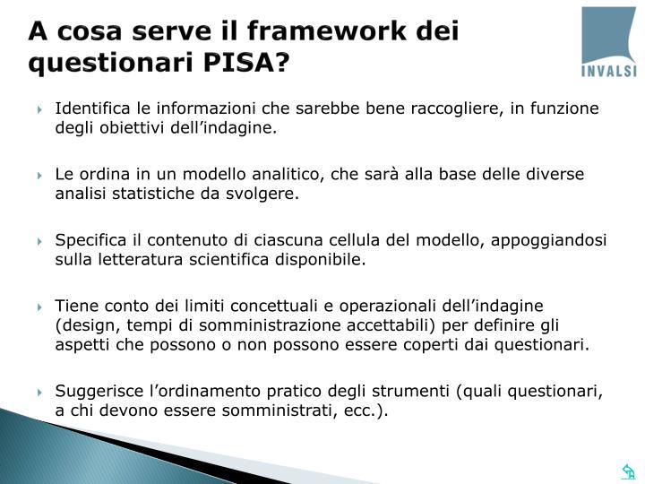 A cosa serve il framework dei questionari PISA?