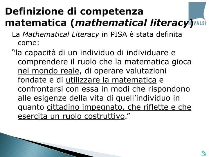 Definizione di competenza matematica (