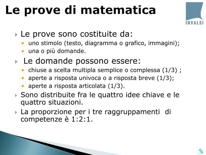 Le prove di matematica