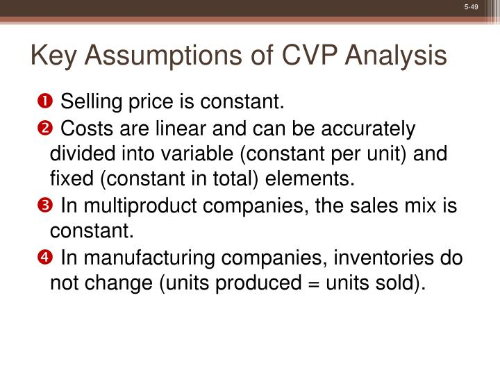 Key Assumptions of CVP Analysis