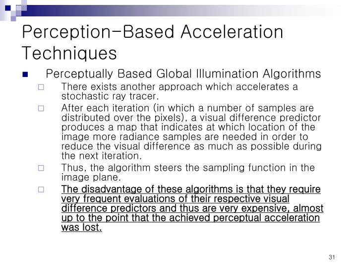 Perception-Based Acceleration Techniques