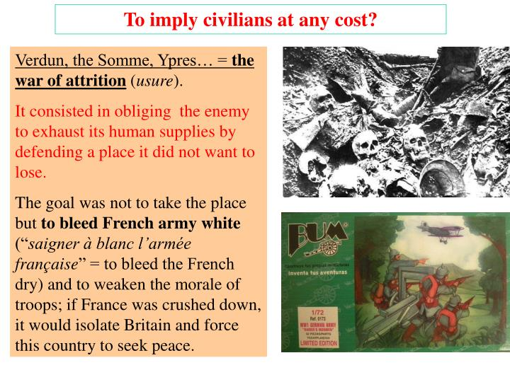 To imply civilians at any cost?