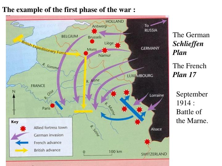 The example of the first phase of the war :