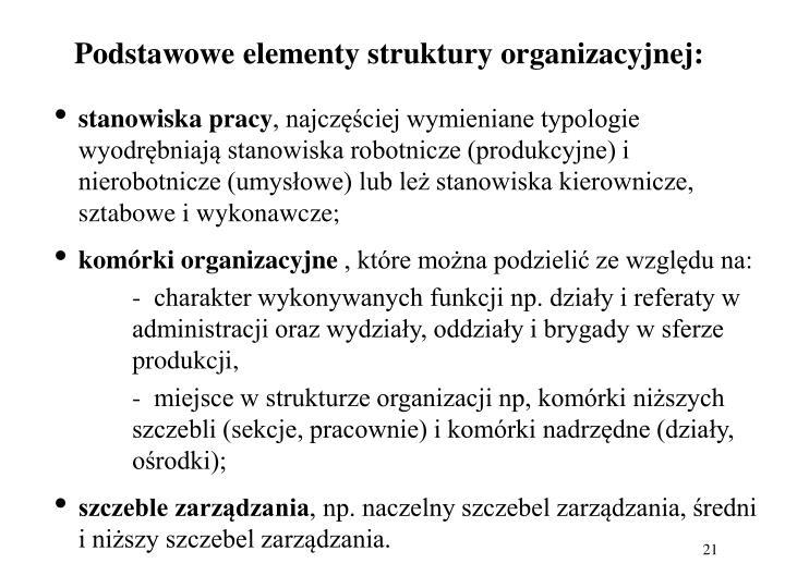 Podstawowe elementy struktury organizacyjnej: