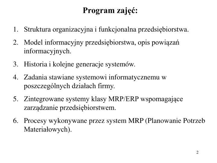 Program zajęć: