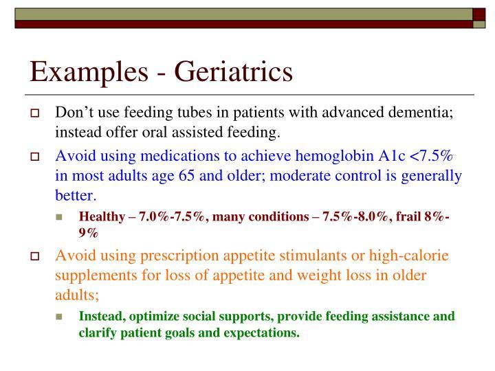 Examples - Geriatrics