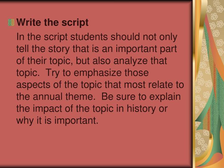 Write the script