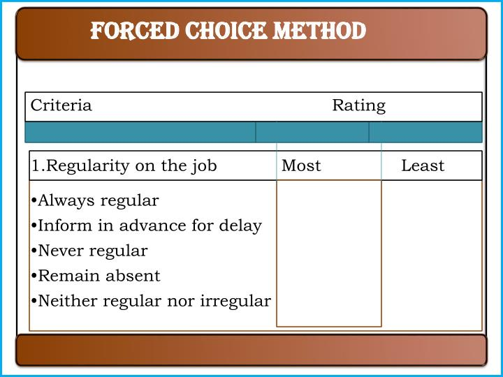 Forced choice method