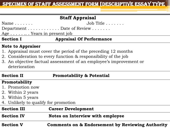 Specimen of Staff Assessment Form [Descriptive Essay Type