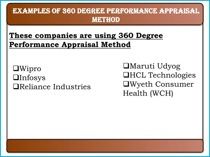 Examples of 360 degree performance appraisal method