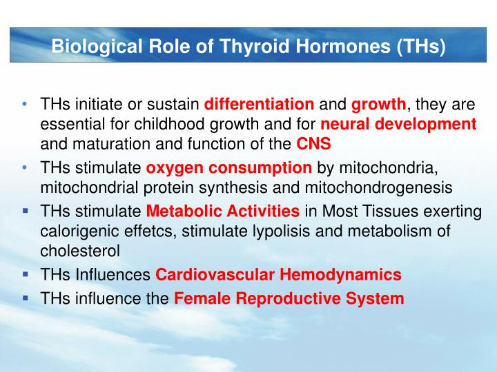 Biological Role of Thyroid Hormones (THs)