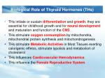 biological role of thyroid hormones ths