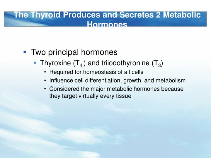 The Thyroid Produces and Secretes 2 Metabolic Hormones