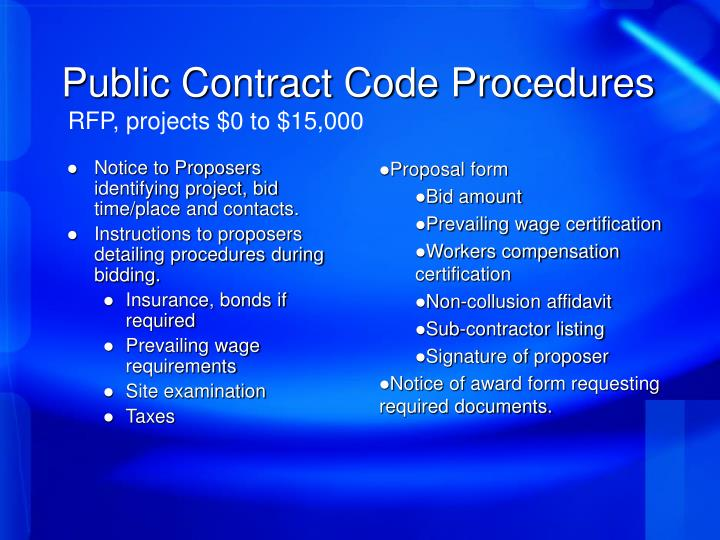 Public Contract Code Procedures