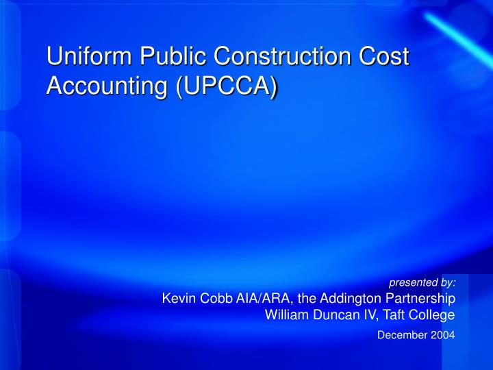 Uniform public construction cost accounting upcca