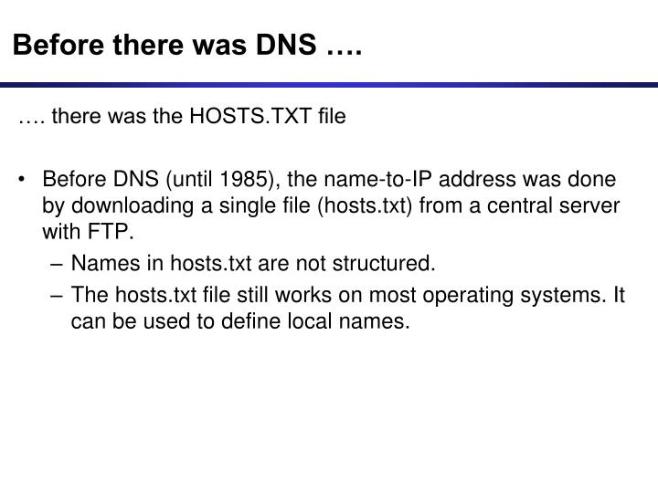 Before there was DNS ….