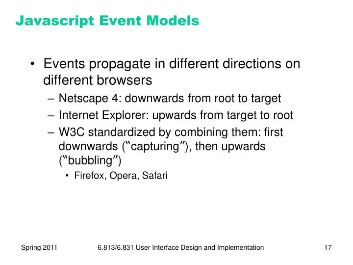 Javascript Event Models