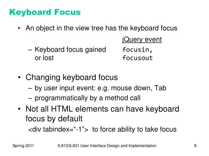 Keyboard Focus