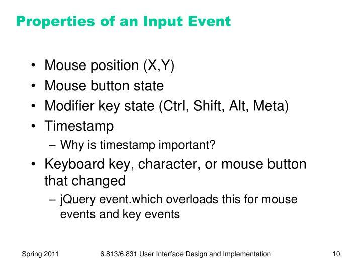 Properties of an Input Event