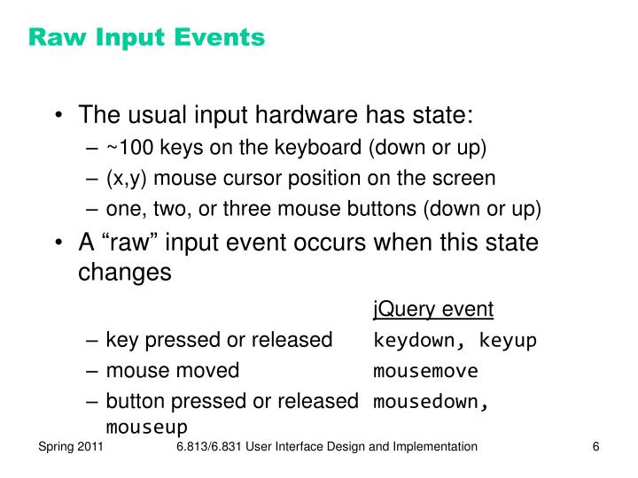 Raw Input Events