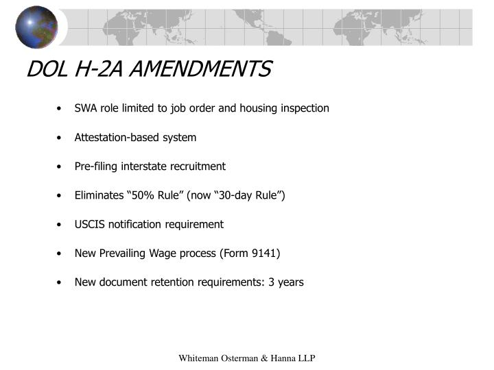 DOL H-2A AMENDMENTS