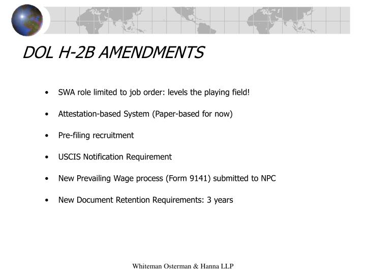 DOL H-2B AMENDMENTS