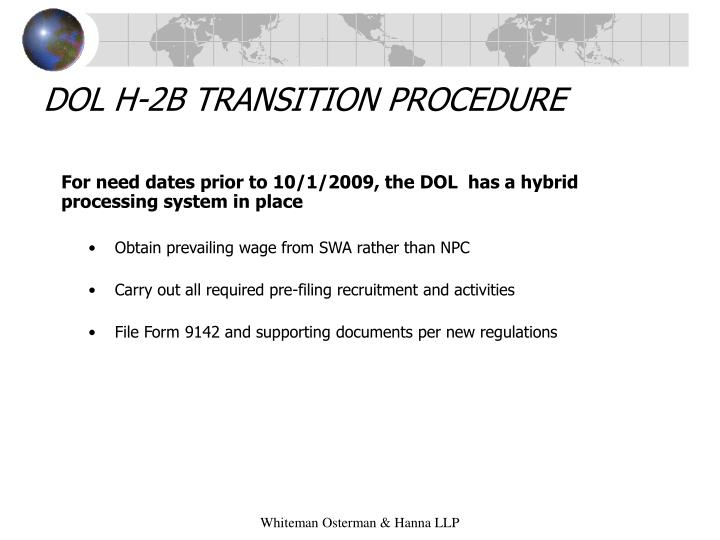 DOL H-2B TRANSITION PROCEDURE