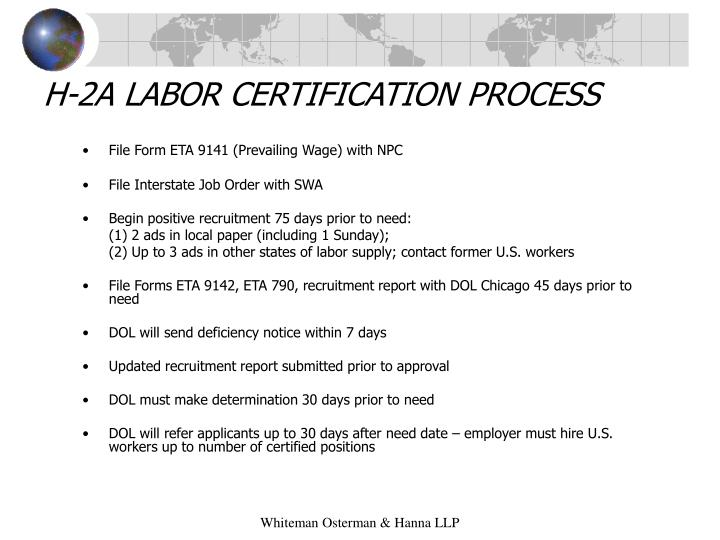 H-2A LABOR CERTIFICATION PROCESS