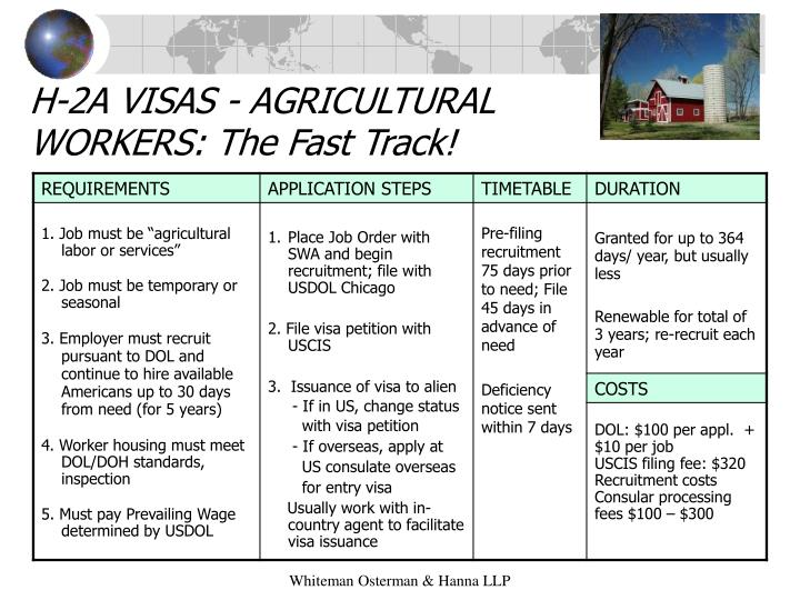 H-2A VISAS - AGRICULTURAL