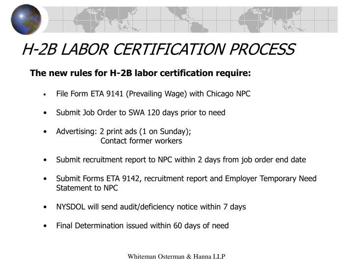 H-2B LABOR CERTIFICATION PROCESS