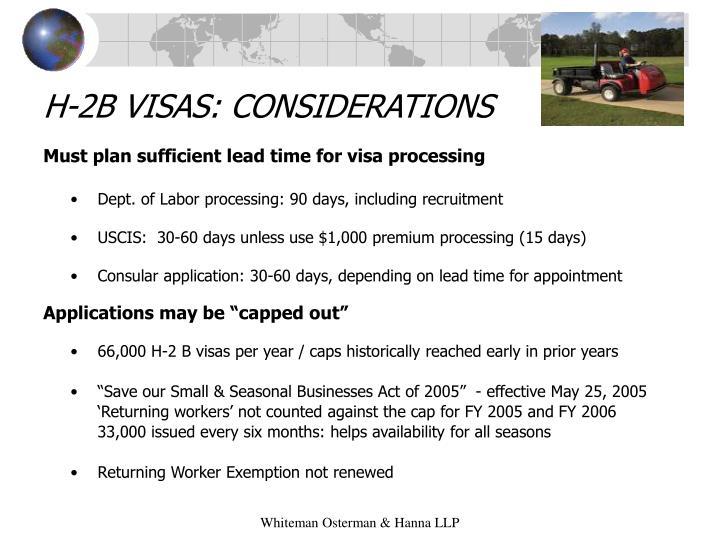 H-2B VISAS: CONSIDERATIONS