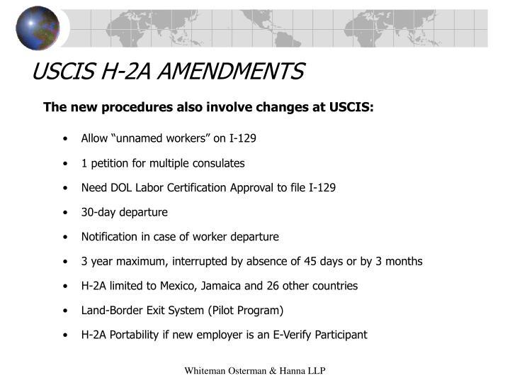 USCIS H-2A AMENDMENTS