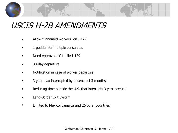 USCIS H-2B AMENDMENTS