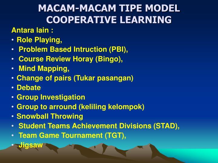 MACAM-MACAM TIPE MODEL COOPERATIVE LEARNING