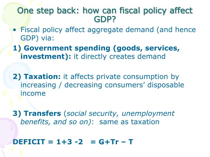 One step back: how can fiscal policy affect GDP?