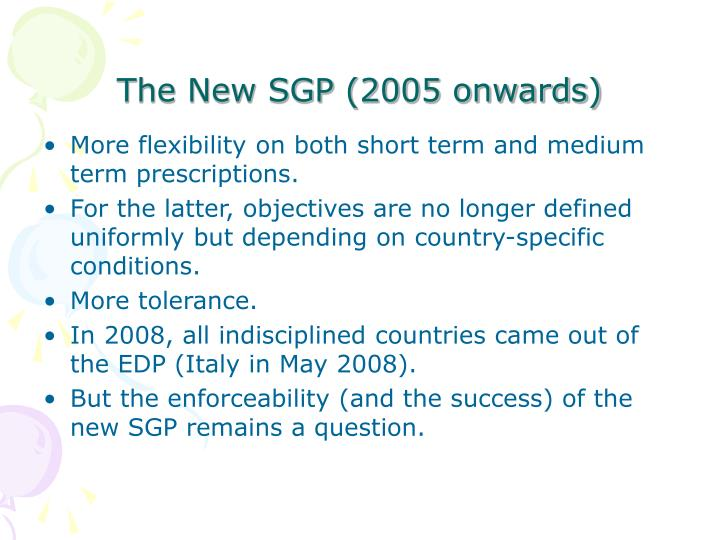The New SGP (2005 onwards)