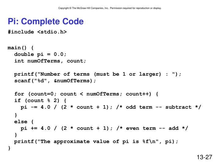 Pi: Complete Code
