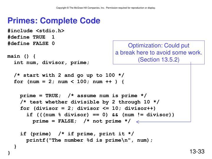 Primes: Complete Code