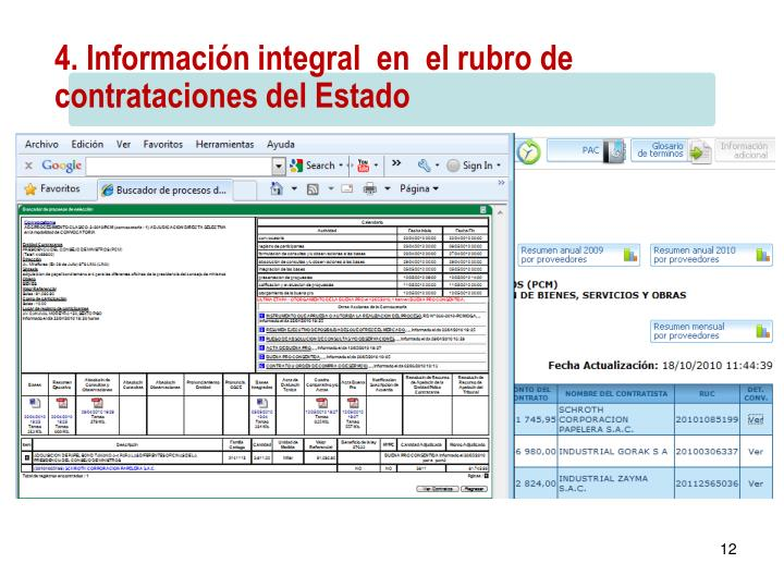 4. Información integral  en  el rubro de contrataciones del Estado